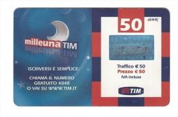 Milleuna - TIM - 50 Euro - SCHEDA TELEFONICA - TELEFONO - RICARICA - [2] Tarjetas Móviles, Prepagadas & Recargos