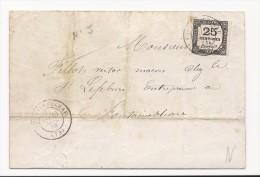 Lettre Du Tribunal De Police De Fontainebleau - 1873 - Taxée Avec Timbre Taxe N°5 - 25 Cts Noir - Taxes