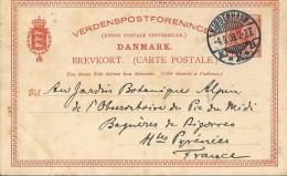 Carte - Lettre     -  Entiers  Postaux     Du  Danemark  En  Direction  De  Bagnères - De - Bigorre   ( 65 ) - Postwaardestukken