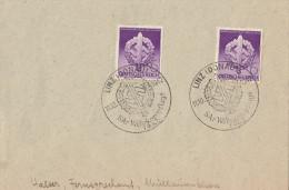 """Lettre Avec Cachet De Linz 1942 """"SA Wehrkampftage"""" Illustré épée Et Croix Gammée - Germany"""