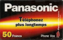 CARTE-PREPAYEE-50F-STARTEC-PANASONIC-PHONE VOX-V° N° Série A Gauche-Code Barres A Droite-TBE-RARE    - - Andere Voorafbetaalde Kaarten