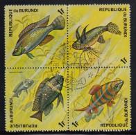 Burundi Used Scott #449 Block Of 4 1fr Fish - Burundi