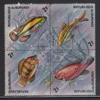 Burundi Used Scott #450 Block Of 4 2fr Fish - Burundi