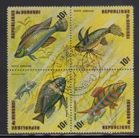 Burundi Used Scott #C207 Block Of 4 10fr Fish - Burundi