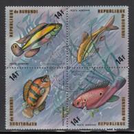 Burundi Used Scott #C208 Block Of 4 14fr Fish - Burundi