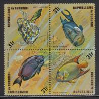 Burundi Used Scott #C212 Block Of 4 31fr Fish - 1970-79: Oblitérés
