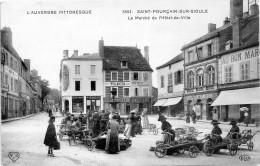 03 - SAINT POURCAIN SUR SIOULE - LE MARCHE DE L'HOTEL DE VILLE    -V- - France