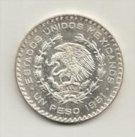 @Y@  Mexico  1 Peso 1961  UNC  Silver / Ag - Mexico