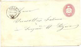1869 10 Rp. Tüblibrief Von Bulle Bahnstempel Lausanne - Bern - Ganzsachen