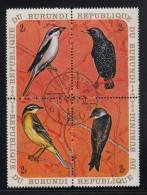 Burundi Used Scott #337 Block Of 4 2fr Birds - Northern Shrike, European Starling, Yellow Wagtail, Bank Swallow - Burundi