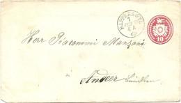 1870 10 Rp. Tüblibrief Von Rapperswyl Nach Andeer Via Chur - Ganzsachen