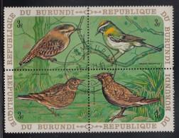 Burundi Used Scott #338 Block Of 4 3fr Birds - Winter Wren, Firecrest, Skylark, Crested Lark - 1970-79: Oblitérés