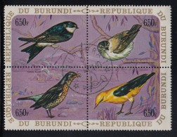 Burundi Used Scott #342 Block Of 4 6.50fr Birds - House Martin, Sedge Warbler, Fieldfare, European Golden Oriole - 1970-79: Oblitérés
