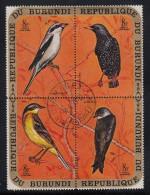 Burundi Used Scott #C132 Block Of 4 8fr Birds - Northern Shrike, European Starling, Yellow Wagtail, Bank Swallow - 1970-79: Oblitérés