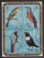Burundi Used Scott #C134 Block Of 4 14fr Birds - Woodchat Shrike, Common Rock Thrush, Black Redstart, Ring Ouzel - Burundi