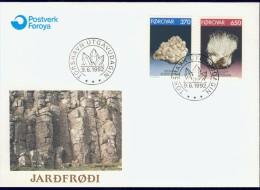 BL5-222 FAROE ISLANDS 1992 FDC YV 229-230 MINERALS, MINERAUX, MINERALEN, DESMINE, MESOLITE. - Mineralen