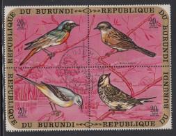 Burundi Used Scott #C135 Block Of 4 20fr Birds - ,European Redstart, Hedge Sparrow, Gray Wagtail, Meadow Pipit - Burundi