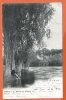 NOV332, Genève, Au Bord Du Rhône, Animée, Pêcheur, Atar, Précurseur, Circulée 1902 Cachet Acacias - GE Geneva