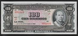 BOLIVIA 100 BOLIVIANOS L. 20.12.1945   SERIE J1   P#147  UNC - Bolivia