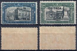 """COLONIA ERITREA 1927 MILIZIA Iª - 2 FRANCOBOLLI DA L. 1,25 L. E L. 5 SOPRASTAMPATI CON """"I"""" ROTTA SASSONE 118a  119a * MH - Eritrea"""