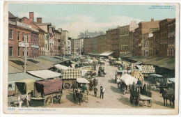 Philadelphia PA Dock Street Market Life Horse Carts Color 1912 Immigrant Card - Philadelphia