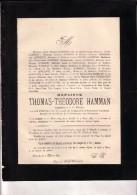 OSTENDE OOSTENDE Thomas-Théodore HAMMAN 1824-1887 Armateur De Pêche Caisse Prévoyance Pêcheurs Doodsbrief - Obituary Notices
