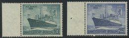 """!a! BERLIN 1955 Mi. 126-127 MNH SET Of 2 SINGLES W/ Left Margins (a) - Motorship """"Berlin"""" - Neufs"""