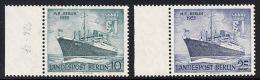 """!a! BERLIN 1955 Mi. 126-127 MNH SET Of 2 SINGLES W/ Left Margins (b) - Motorship """"Berlin"""" - Neufs"""
