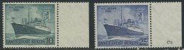 "!a! BERLIN 1955 Mi. 126-127 MNH SET Of 2 SINGLES W/ Right Margins (b) - Motorship ""Berlin"" - Neufs"