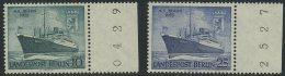 "!a! BERLIN 1955 Mi. 126-127 MNH SET Of 2 SINGLES W/ Right Margins (c) - Motorship ""Berlin"" - Neufs"