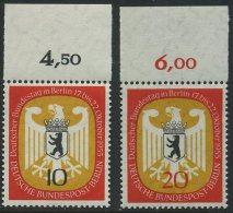 !a! BERLIN 1955 Mi. 129-130 MNH SET Of 2 SINGLES W/ Top Margins (d) - German Bundestag At Berlin - Neufs