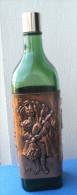 Bouteille En Verre Vide, Extérieur En Cuivre Repoussé, 3 Motifs Différents - Whisky