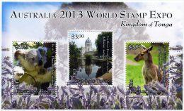 ton1303s1 Tonga 2013 Australia 2013 World Stamp Expo Koala Kangaroo s/s