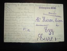 CARTE DE PRISONNIER DE REGENSBURG (BAVIERE) Datée 8 FEVRIER 1915 + CENSURE - Marcophilie (Lettres)
