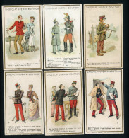 Chocolat Guérin Boutron, Lot De 6 Chromos Lith. J. Minot, Thème Militaria, Humour - Guérin-Boutron