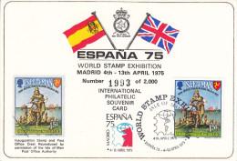 Ile De Man - Carte Postale De 1975 - Exposition Philatélique Espana 1975 - Drapeaux - Bateaux - Vikings - Man (Ile De)