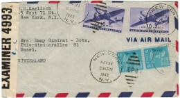 STATI UNITI - UNITED STATES - USA - US - 1942 - Airmail - 2 X 10c + 2 X 5c - Opened By Censor - Viaggiata Da New York... - Vereinigte Staaten