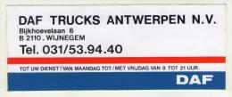 AUTOCOLLANT . STICKER .  DAF  TRUCKS  ANTWERPEN . ANVERS . - Stickers