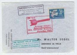 Andorra ROCKET POST ZR 124 COVER 1962 - Stamps
