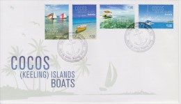 Cocos Islands - Keeling - FDC Mi 460-463 - Boats - Jukongs - Small Boat - Glass-bottom Boat - Yacht - 2011 - Cocoseilanden