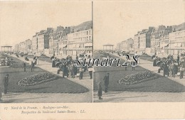 NORD DE LA FRANCE - N° 17 - BOULOGNE-SUR-MER - PERSPECTIVE DU BOULEVARD SAINTE-BEUVE - Cartoline Stereoscopiche