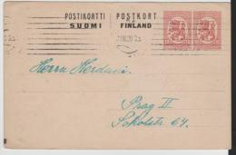 FS-R077/ FINNLAND -  Auslandsganzsache (2 X 10 P.) 1920 Nach Prag Gesandt. - Enteros Postales