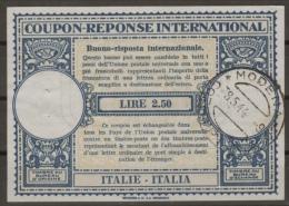 "RSI ""REPUBBLICA SOCIALE ITALIA"" / ITALIE Int. Reply Coupon Reponse Antwortschein IAS XIV LIRE 2.50 O MODENA 8.5.1944 - Entiers Postaux"