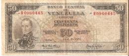 BILLETE DE VENEZUELA DE 50 BOLIVARES DEL AÑO 1970 (BANKNOTE) MUY RARO - Venezuela