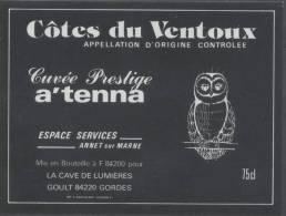 THEME ANIMAUX étiquette De Vin COTES DU VENTOUX / CHOUETTE - Civette