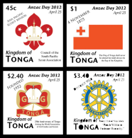 ton120701 Tonga 2012 Anzac Day Scout Rotary Girl Guides Perf 4v Scott: 1180-3