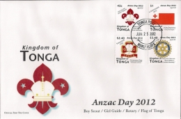 ton120701F Tonga 2012 Anzac Day Scout Rotary Girl Guides Perf 4v FDC Scott: 1180-3