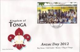 ton1207s1F Tonga 2012 Anzac Day Scout Perf s/s FDC Scott: 1184