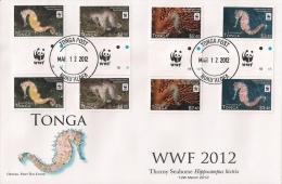 ton120301gF Tonga 2012 WWF Thorny Seahorse Fish gutter FDC Scott: 1173-6
