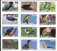 ton120201 Tonga 2012  Bird Definitive Part I Parrot KingFisher Crane Owl Eagle 12v Scott: 1158-69